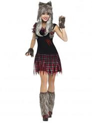 Disfarce lobisomem Halloween cinzento-vermelho