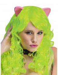Peruca verde fluo com orelhas de gato