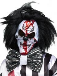 Máscara palhaço de horror branco e preto com peruca Halloween