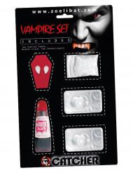 Kit acessórios vampiro com lentes fantasia brancas adulto
