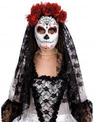 Máscara Dia de los muertos com rosas vermelhas adulto Halloween
