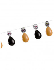 Grinalda caveiras e balões cor de laranja e pretos Halloween