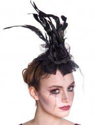 Bandolete preta com penas e véu mulher