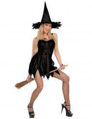 Disfarce bruxa sexy preta mulher