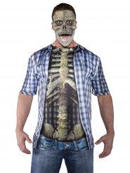 T-shirt de Halloween esqueleto colorido