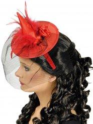 Mini chapéu vermelho com véu bruxa mulher Halloween
