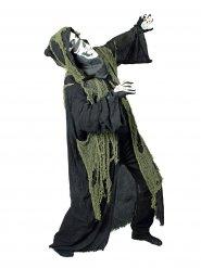 Capa senhor da morte com capuz e lençol verde adulto Halloween
