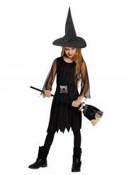 Disfarce pequena feiticeira Halloween menina preto e prateado