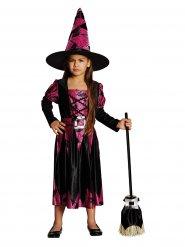 Disfarce bruxa preta e cor-de-rosa menina Halloween