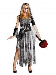 Disfarce noiva esqueleto Halloween mulher