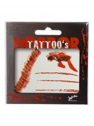 Tatuagem cicatrizes sangrentas vermelhas Halloween