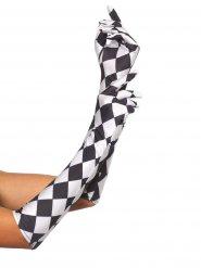 Luvas xadrez branco e preto mulher