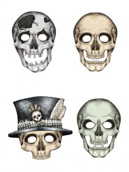 4 Máscaras de cartão esqueleto Halloween