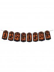 Grinalda decoração Halloween cor de laranja e preta