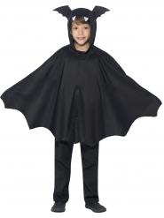 Disfarce poncho morcego preto criança Halloween
