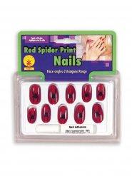 Unhas aranha bruxa vermelho e preto