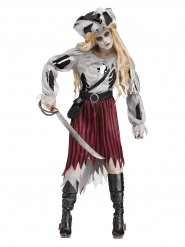 Disfarce pirata fantasma Halloween mulher
