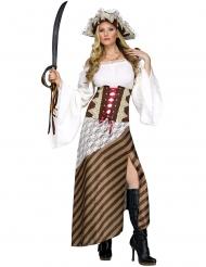 Disfarce pirata à riscas castanhas mulher