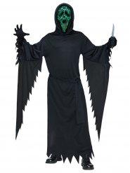 Disfarce Scream™ com luz verde e preto adulto Halloween