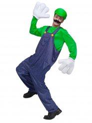 Disfarce personagem de vídeojogo verde-azul homem