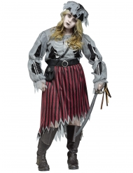 Disfarce mulher pirata zombie tamanho grande