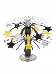 Centro de mesa com estrelas douradas, prateadas e pretas