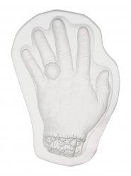Molde pudim forma de mão transparente