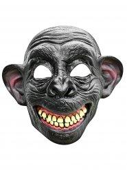 Meia máscara de macaco sorridente em látex cinzento e bege