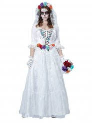 Disfarce Halloween esqueleto de noiva branco-colorido