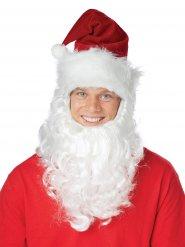 Gorro de Pai Natal com barba branca