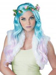 Peruca fada flor azul turquesa
