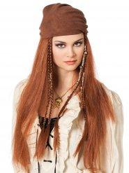 Peruca pirata cabelos longos com bandana - mulher