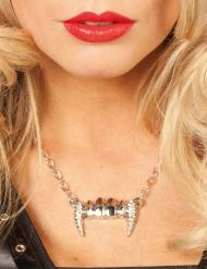 Colar dentes de vampiro prateado mulher Halloween