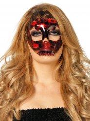 Meia máscara esqueleto dentadura preto e vermelho mulher Halloween