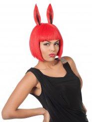Peruca vermelha com orelhas de coelho mulher