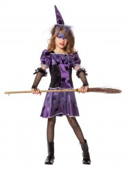 Disfarce bruxa lilás e preto menina Halloween