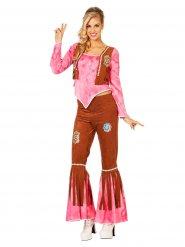 Disfarce hippie cor-de-rosa e castanho mulher