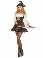 Disfarce de pirata chique castanho mulher