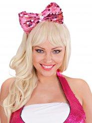 Bandolete laço cor-de-rosa com lantejoulas adulto