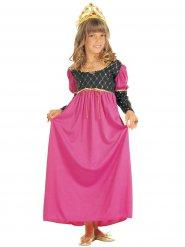 Disfarce rainha medieval cor-de-rosa menina