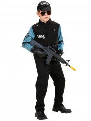 Disfarce polícia SWAT preto e azul menino
