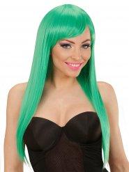 Peruca  cabelos compridos lisos com franja verdes