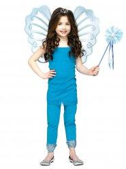 Asas e varinha de fada azul menina
