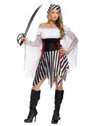 Disfarce pirata listrado preto e branco - mulher