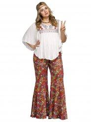 Calças hippie com flores coloridas mulher