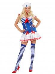 Disfarce sexy marinheiro mulher azul e vermelho