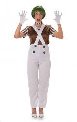 Disfarce mulher operária de chocolateria branco e castanho