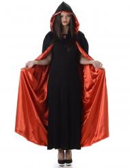Capa com capuz vermelha e preta Halloween adulto