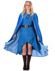 Disfarce guerreira medieval azul mulher