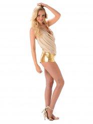Disfarce cantora sexy mulher dourado